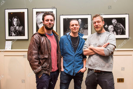 Felix and Hugo White, of the band the Maccabees and Mumford and Sons bassist Ted Dwane (right) attend 'The MS Connection', a photography exhibition that explores the impact of loneliness and isolation on people living with MS. Created by photographer Louis Browne @WMA, Ted Dwane of Mumford & Sons and the MS Society.