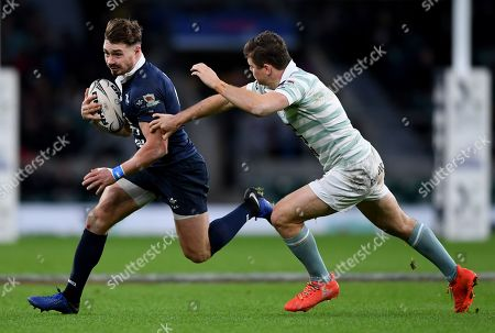 Stock Image of Ben Ransom of Oxford makes a break - during the Varsity match between Oxford and Cambridge at Twickenham on December 6, 2018 in London, England. (Photo by Alex Davidson)