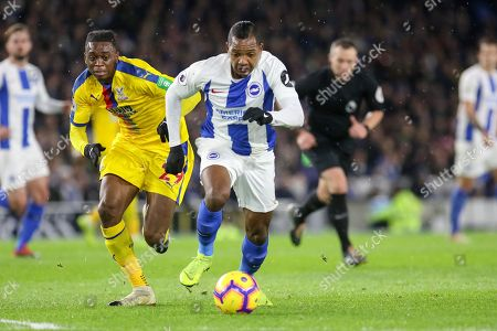 Brighton and Hove Albion midfielder Jose Izquierdo (19) battles with Crystal Palace #29 Aaron Wan Bissaka during the Premier League match between Brighton and Hove Albion and Crystal Palace at the American Express Community Stadium, Brighton and Hove