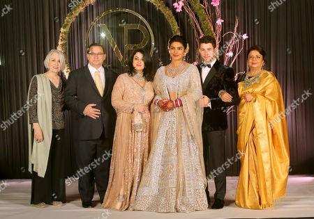 Frances Madonia-Miller, Paul Kevin Jonas, Sr., Denise Miller-Jonas, Priyanka Chopra, Nick Jonas and Dr. Madhu Chopra