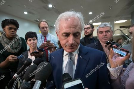 "Senate Foreign Relations Committee Bob Corker, R-Tenn., speaks to reporters after a closed-door security briefing by CIA Director Gina Haspel on the slaying of Saudi journalist Jamal Khashoggi and the involvement of the Saudi crown prince, Mohammed bin Salman, at the Capitol in Washington, . Graham said there is ""zero chance"" the crown prince wasn't involved in Khashoggi's death. Corker said he believes if the crown prince were put on trial, a jury would find him guilty in ""about 30 minutes"