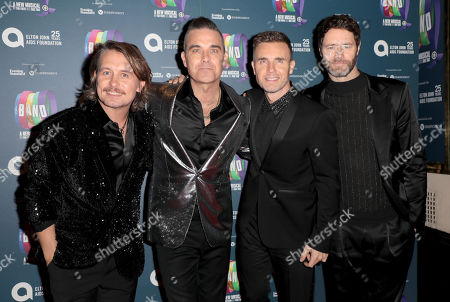 Mark Owen, Robbie Williams, Gary Barlow and Howard Donald of Take That