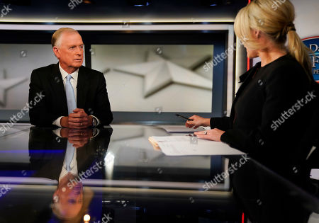Dan Quayle, Dana Perino. Fox News anchor of the Daily Briefing, Dana Perino, right, during an interview of former Vice President Dan Quayle, left, at Fox News Studios in Washington