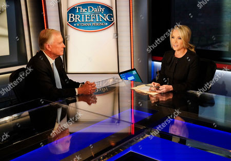 Dan Quayle, Dana Perino. Fox News anchor of the Daily Briefing, Dana Perino, right, during a break in the broadcast interview of former Vice President Dan Quayle, left, at Fox News Studios in Washington