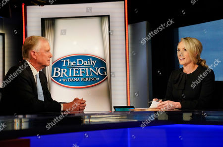 Dan Quayle, Dana Perino. Fox News anchor of the Daily Briefing, Dana Perino, right, interviewing former Vice President Dan Quayle, left, at Fox News Studios in Washington