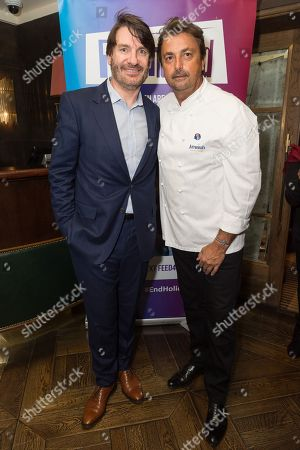 Stock Image of French p?tissier chef Eric Lanlard and French Tennis Legend Henri Leconte attend an evening re-creating his Masterchef Semi-final experience and raise funds for StreetGames, a charity supporting sports participation for disadvantaged communities.
