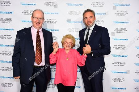 Stock Picture of Honoree British journalist and politician Lord Daniel Finkelstein, Kindertransport survivor and sex therapist Dr. Ruth Westheimer, British Consul General Michael Howells attend Los Angeles Museum of the Holocaust's 2018 Annual Gala commemorating the 80th anniversary of the Kindertransport, on in Beverly Hills, Calif. Great Britain took in 10,000 refugee children from Nazi-occupied countries on the eve of World War II