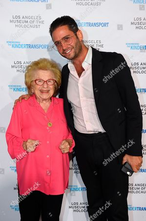 Kindertransport survivor and sex therapist Dr. Ruth Westheimer, Million Dollar Listing star and grandson of Holocaust survivor Josh Flagg attend Los Angeles Museum of the Holocaust's 2018 Annual Gala commemorating the 80th anniversary of the Kindertransport, on in Beverly Hills, Calif
