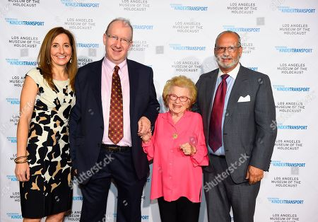 Museum Executive Director Beth Kean, honoree British journalist and politician Lord Daniel Finkelstein, Kindertransport survivor and sex therapist Dr. Ruth Westheimer, Museum President Paul S. Nussbaum attend Los Angeles Museum of the Holocaust's 2018 Annual Gala commemorating the 80th anniversary of the Kindertransport, on in Beverly Hills, Calif