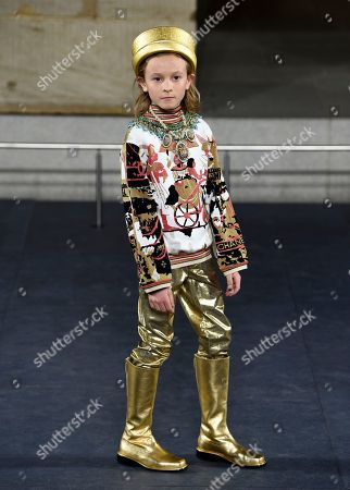 Karl Lagerfeld's godson Hudson Kroenig poses on the runway at the Chanel Metiers d'Art 2018/19 Show at the Metropolitan Museum of Art, in New York