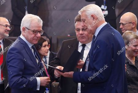 (L-R) Polish Foreign Minister Jacek Czaputowicz, Lithuanian Foreign Minister Linas Linkevicius and Romanian Foreign Minister Teodor-Viorel Melescanu at second day of Nato Foreign ministers council at Alliance headquarters in Brussels, Belgium, 05 December 2018. The main issues on the agenda include the situation around the Intermediate-Range Nuclear Forces Treaty (INF), the alliance's cooperation with Ukraine and Georgia in the context of the incident between the warships of Ukraine and Russia in the Kerch Strait.