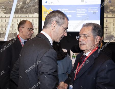(L-R) Italian former Prime Minister, Enrico Letta, Managing Partner and CEO of The European House - Ambrosetti, Valerio De Molli and Italy's Former President, Romano Prodi, during Boao Forum for Asia Rome Conference in Rome, Italy, 05 December 2018. The meeting aims to bring together Asian and European leaders in a dialogue to promote new Asia-Europe partnerships and cooperations.