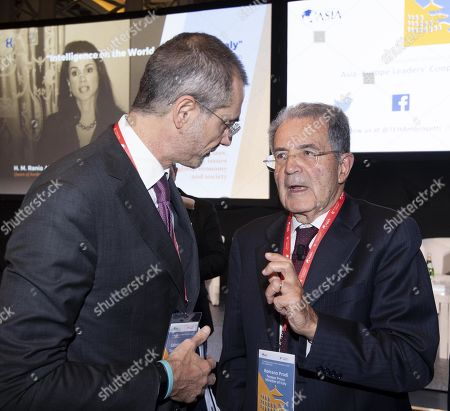 Managing Partner and CEO of The European House - Ambrosetti, Valerio De Molli (L) and Italy's Former President, Romano Prodi, during Boao Forum for Asia Rome Conference in Rome, Italy, 05 December 2018. The meeting aims to bring together Asian and European leaders in a dialogue to promote new Asia-Europe partnerships and cooperations.