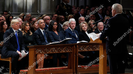 (L-R) US President Donald Trump, first lady Melania Trump, former US President Barack Obama, former first lady Michelle Obama, former President Bill Clinton, former US Secretary of State Hillary Clinton, and former US President Jimmy Carter listen as former Canadian Prime Minister Brian Mulroney speaks during a State Funeral at the National Cathedral, in Washington, DC, USA, 05 December 2018. George H.W. Bush, the 41st President of the United States (1989-1993), died in his Houston, Texas, USA, home surrounded by family and friends on 30 November 2018. The body will return to Houston for another funeral service before being transported by train to the George Bush Presidential Library and Museum for internment.