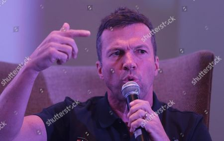 Former German Football player Lothar Matthaus address a news conference in Mumbai, India, . Matthaus is India as part of the Bundesliga Legends Tour