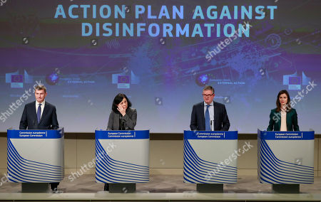 (L-R) European Commissioner for Digital Single Market Andrus Ansip, EU Commissioner for Justice, Consumers and Gender Equality Vera Jourova, European Commissioner for Security Union, British Julian King and EU Commissioner for Digital Economy and Society, Mariya Gabriel give a press conference on the Action Plan to counter disinformation and progress achieved so far at the European commission in Brussels, Belgium, 05 December 2018.