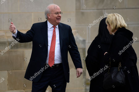 Stock Photo of Karl Rove, left, arrives for the State Funeral of former President George H.W. Bush at the National Cathedral in Washington
