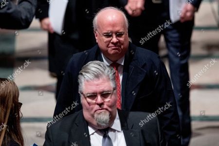 Republican strategist and former White House senior adviser Karl Rove, above, departs following the State Funeral for former President George H.W. Bush at the National Cathedral, in Washington, DC, USA, 05 December 2018. George H.W. Bush, the 41st President of the United States (1989-1993), died at the age of 94 on 30 November 2018 at his home in Texas.