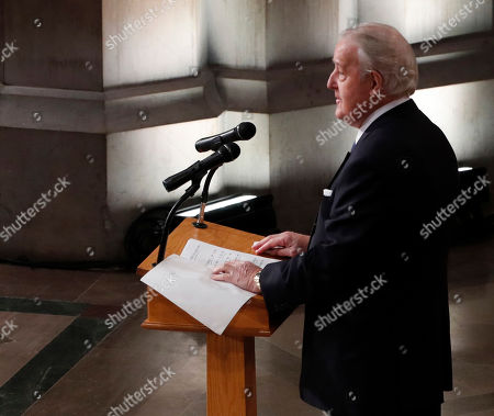 Former Canadian Prime Minster Brian Mulroney delivers remarks about former United States President George H. W. Bush during the funeral services at the National Cathedral in Washington, DC, USA, 05 December 2018. George H. W. Bush, the 41st President of the United States (1989-1993), died in his Houston, Texas, USA, home surrounded by family and friends on 30 November 2018. The body will return to Houston for another funeral service before being transported by train to the George Bush Presidential Library and Museum for internment.