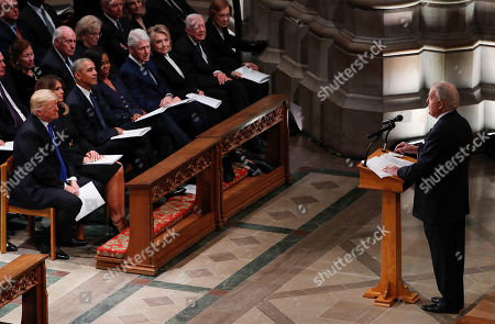 Former Canadian Prime Minster Brian Mulroney (R) delivers remarks about former United States President George H. W. Bush during the funeral services at the National Cathedral in Washington, DC, USA, 05 December 2018. George H. W. Bush, the 41st President of the United States (1989-1993), died in his Houston, Texas, USA, home surrounded by family and friends on 30 November 2018. The body will return to Houston for another funeral service before being transported by train to the George Bush Presidential Library and Museum for internment.