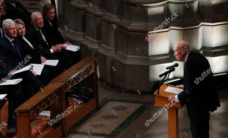 Former United States Senator Alan Simpson delivers remarks during the funeral services for former United States President George H. W. Bush  at the National Cathedral in Washington, DC, USA, 05 December 2018. George H. W. Bush, the 41st President of the United States (1989-1993), died in his Houston, Texas, USA, home surrounded by family and friends on 30 November 2018. The body will return to Houston for another funeral service before being transported by train to the George Bush Presidential Library and Museum for internment.