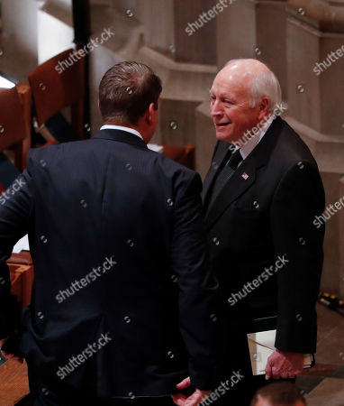 Former United States Vice President Dick Cheney (R) arrives for the funeral services for former United States President George H. W. Bush at the National Cathedral, in Washington, DC, USA, 05 December 2018. George H. W. Bush, the 41st President of the United States (1989-1993), died in his Houston, Texas, USA, home surrounded by family and friends on 30 November 2018. The body will return to Houston for another funeral service before being transported by train to the George Bush Presidential Library and Museum for internment.