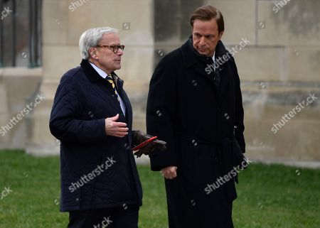 Tom Brokaw, Michael Beschloss. Television newsman Tom Brokaw, left, and presidential historian Michael Beschloss, right, arrive for the State Funeral of former President George H.W. Bush at the National Cathedral in Washington