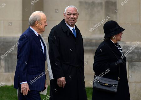 Stock Photo of Former Secretary of State Colin Powell, center, arrives for the State Funeral of former President George H.W. Bush at the National Cathedral in Washington