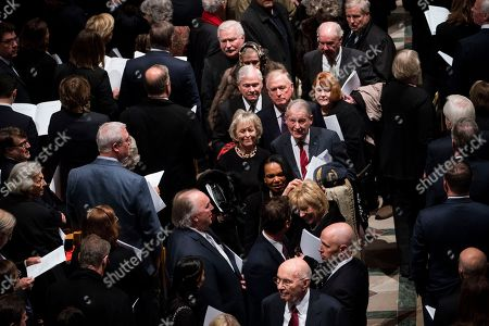 Former US Vice President Dan Quayle, with Former CIA Director Robert Gates, Former CIA Director William Webster, Former National Security advisor Condoleezza Rice walk out behind the casket of former US president George H.W. Bush down the center isle following a memorial ceremony at the National Cathedral in Washington, DC, USA, 05 December 2018. George H. W. Bush, the 41st President of the United States (1989-1993), died in his Houston, Texas, USA, home surrounded by family and friends on 30 November 2018. The body will return to Houston for another funeral service before being transported by train to the George Bush Presidential Library and Museum for internment.