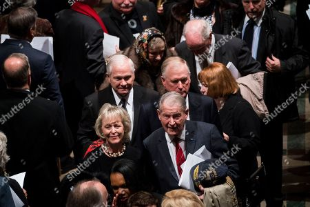 Former US Vice President Dan Quayle, with Former CIA Director Robert Gates, Former CIA Director William Webster, walk out behind the casket of former US president George H.W. Bush down the center isle following a memorial ceremony at the National Cathedral in Washington, DC, USA, 05 December 2018. George H. W. Bush, the 41st President of the United States (1989-1993), died in his Houston, Texas, USA, home surrounded by family and friends on 30 November 2018. The body will return to Houston for another funeral service before being transported by train to the George Bush Presidential Library and Museum for internment.