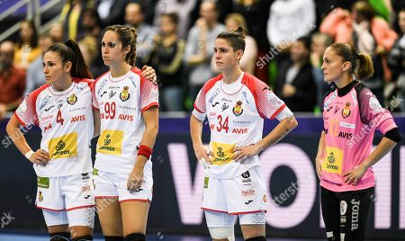 Carmen Dolores Martin Berenguer from Spain, Mireya Gonzalez Alvarez from Spain, Alicia Fernandez Fraga from Spain and Silvia Navarro Gimenez from Spain (L-R) react after the EHF Women EURO 2018 handball match between Hungary and Spain in Montbeliard, France, 05 December 2018.