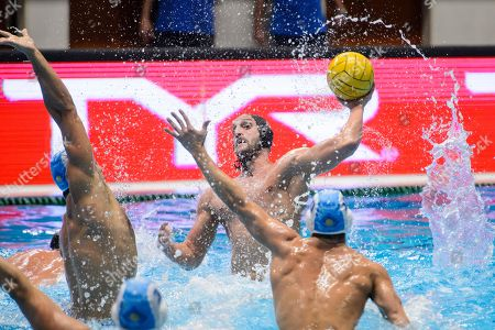 Valentino Gallo of Brescia (C) in action during the men?s water polo Champions League match ZF-Eger of Hungary vs AN Brescia of Italy, in Eger, 127 kms northeast of Hungary, 05 December 2018.