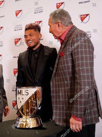 Josef Martinez, Arthur Blank. Atlanta United soccer player Josef Martinez, left, stands with team owner Arthur Blank after Martinez was presented with the Landon Donovan MLS MVP award, in Atlanta