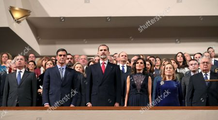Spanish Royal couple King Felipe (C) and Queen Letizia (3-R), Spanish Prime Minister Pedro Sanchez (3-L), Spanish Parliament's Lower House Speaker Ana Pastor (2-R), Speaker of the Spanish Senate, Pio Garcia (2-L) attend a commemorative concert on the occasion of the 40th anniversary of the Spanish Constitution at The Auditorio Nacional de Musica in Madrid, Spain, 05 December 2018.
