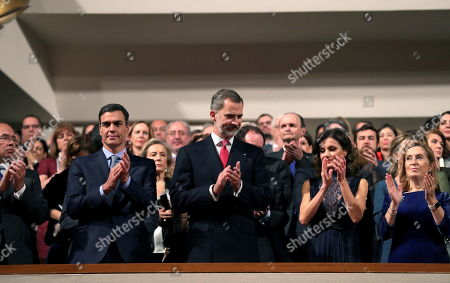 Spanish Royal couple King Felipe (C) and Queen Letizia (2-R), Spanish Prime Minister Pedro Sanchez (2-L), Spanish Parliament's Lower House Speaker Ana Pastor (R), Speaker of the Spanish Senate, Pio Garcia (L) attend a commemorative concert on the occasion of the 40th anniversary of the Spanish Constitution at The Auditorio Nacional de Musica in Madrid, Spain, 05 December 2018.