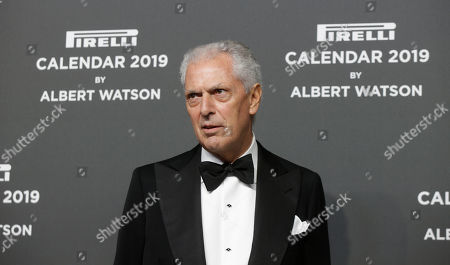 Pirelli CEO Marco Tronchetti Provera stands on the red carpet on the occasion of the 2019 Pirelli Calendar event in Milan, Italy