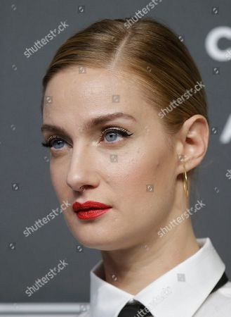 Actress Eva Riccobono poses on the red carpet on the occasion of the 2019 Pirelli Calendar event in Milan, Italy