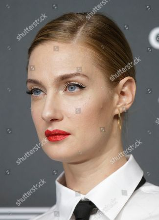 Model Eva Riccobono poses on the red carpet at the unveiling 2019 Pirelli Calendar event in Milan, Italy
