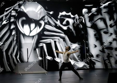 Dancer Marcelo Gomes rehearses for Sleeping Beauty Dreams in North Miami, Fla. The show combines dance, contemporary art and technology. The show premieres Dec. 7 and 8 in Miami before traveling to New York