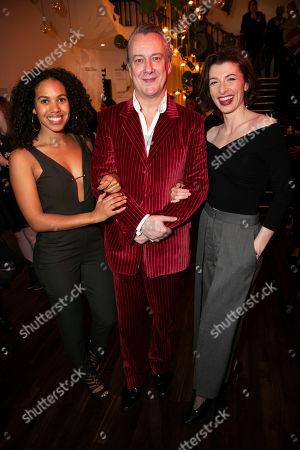 Rosanna Bates (Jess), Stephen Tompkinson (Ebeneezer Scrooge) and Frances McNamee (Belle)