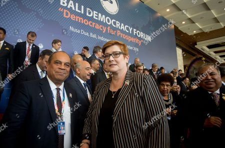 Payne Sio Waqa. Australian Foreign Minister Marise Payne, center, stands with New Zealand Minister for Pacific Peoples Aupito William Sio, left, and Nauru's President and Foreign Minister Baron Waqa, right during an opening of Bali Democracy Forum in Bali, Indonesia on . The 11th Bali Democracy Forum focuses its efforts on delivering prosperity for the people