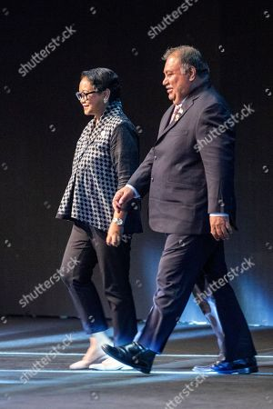 Indonesian Foreign Minister Retno Marsudi (L) walks with the President of Nauru Baron Divavesi Waqa (R) during the eleventh Bali Democracy Forum in Nusadua, Bali, Indonesia, 06 December 2018. The Indonesian resort island of Bali is hosting the eleventh annual meeting of the Bali Democracy Forum (BDF) from 06 to 07 December 2018. The forum gathers delegates from across the globe to discuss issues concerning the development and perpetuation of democratic institutions.