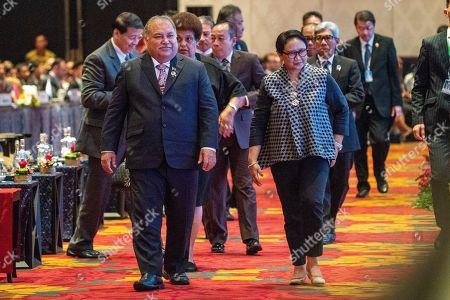 Indonesian Foreign Minister Retno Marsudi (R) walks with the President of Nauru Baron Divavesi Waqa (L) during the eleventh Bali Democracy Forum in Nusadua, Bali, Indonesia, 06 December 2018. The Indonesian resort island of Bali is hosting the eleventh annual meeting of the Bali Democracy Forum (BDF) from 06 to 07 December 2018. The forum gathers delegates from across the globe to discuss issues concerning the development and perpetuation of democratic institutions.