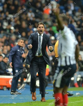 Rayados de Monterrey's head coach Diego Martin reacts during the first leg soccerr match of the 2018 Apertura Tournament semifinals at the BBVA Stadium, in Monterrey, Mexico, 05 December 2018.