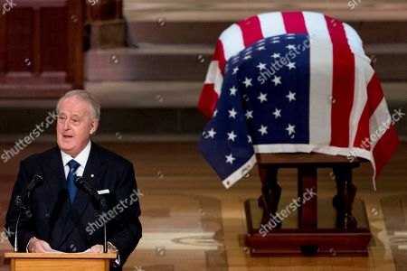 Stock Image of Former Canadian Prime Minister Brian Mulroney speaks during the State Funeral the National Cathedral.