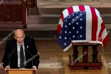 Stock Picture of Former Sen. Alan Simpson, R-Wyo, speaks during the State Funeral the National Cathedral.