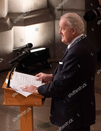 Former Canadian Prime Minister Brian Mulroney delivers a eulogy at the state funeral service at the National Cathedral.