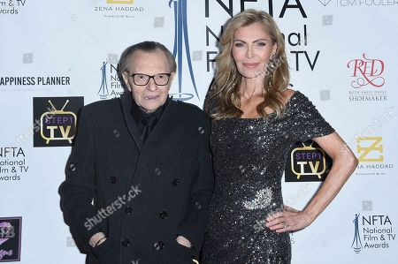 Larry King, Shawn King. Larry King, left, and Shawn King attend the 2018 National Film & Television Awards at the Globe Theatre, in Los Angeles