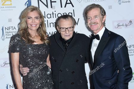 Shawn King, Larry King, William H. Macy. Shawn King, from left, Larry King and William H. Macy attend the 2018 National Film & Television Awards at the Globe Theatre, in Los Angeles