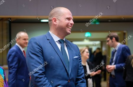 Belgian Secretary of State for Asylum, Migration, member of NVA Party  Theo Francken during an European Interior Minister council in Brussels, Belgium 06 December 2018. Ministers are expected to discuss a proposed regulation on the European Border and Coast Guard. In Belgium NVA t(New Flemish Alliance) the leading Flemish nationalist  political party is in opposition with European Immigration policy.  To Belgian Prime Minister Charles Michel will ask the Parliament to vote on the signing agreement on international migration to prevent the government from collapsing. Michel opposed his coalition partner, the New Flemish Alliance (N-VA), to find out if Belgium should sign the UN Global Compact on Migration.